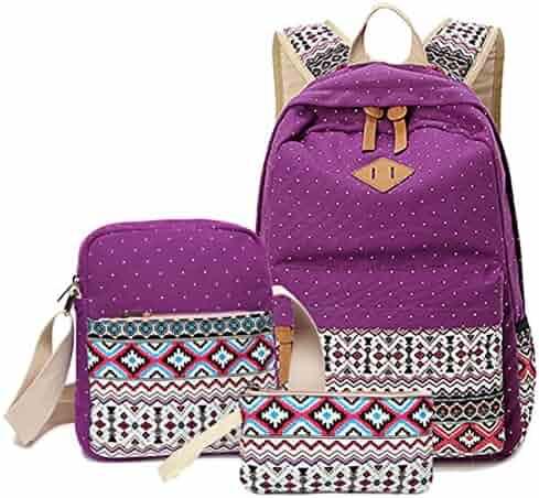 f58e0b6b9944 Freedi 3Pcs Canvas Backpack Cute Lightweight Shoulder School Bag Bookbags  for Teen Girls Casual