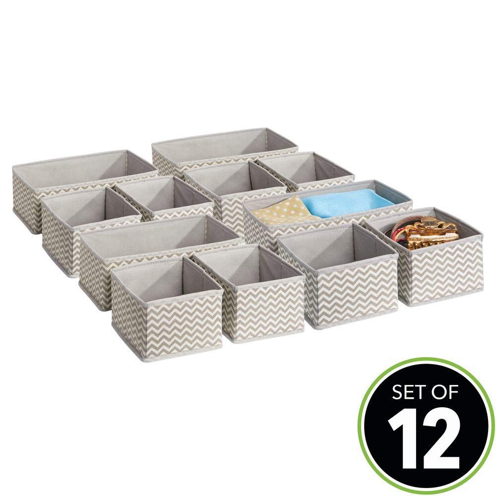 Organizadores para armarios o cajones Caja para organizar Ropa y armarios MetroDecor mDesign Juego de 12 Cajas organizadoras en Tela Ocho Cajas peque/ñas y Cuatro Grandes Topo//Natural