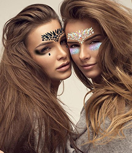1 Sheet Handpicked Bohemia Tribal Style 3D Crystal Sticker Face And Eye Jewels Forehead Stage Decor Temporary Tattoo Sticker (White) ()