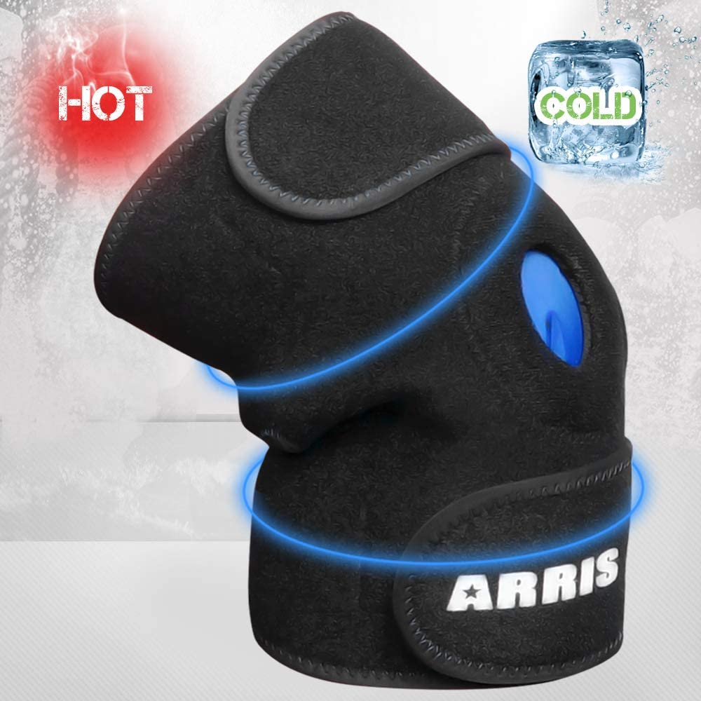 ARRIS Knee Ice Pack Wrap, Reusable Hot Cold Therapy Knee Wrap Ice Knee Brace for Joint Pain, Injury, Bursitis Arthritis Knee Pain Relief, Meniscus Tear, Sprains & Swelling (Flexible and Adjustable)