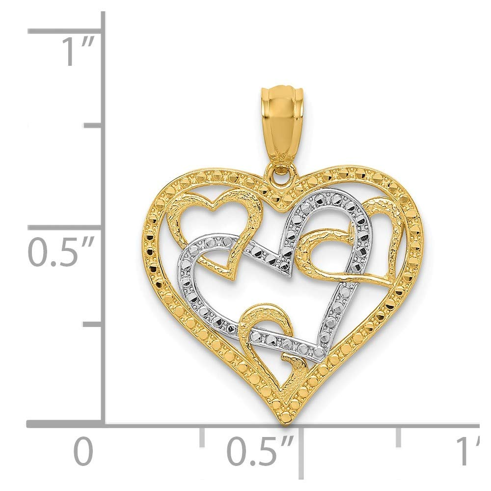 14K White Gold /& Yellow Gold Themed Jewelry Pendants /& Charms Solid 19 mm 21 mm Diamond Cut Heart Pendant