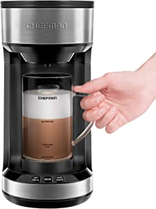 Chefman Froth + Brew Coffee Maker and Milk Frother, Single Serve Brewer for K-Cup Pods & Grounds for Latte and Cappuccino Style Drinks, Compact 20 oz. Glass Mug and Reusable Filter Included