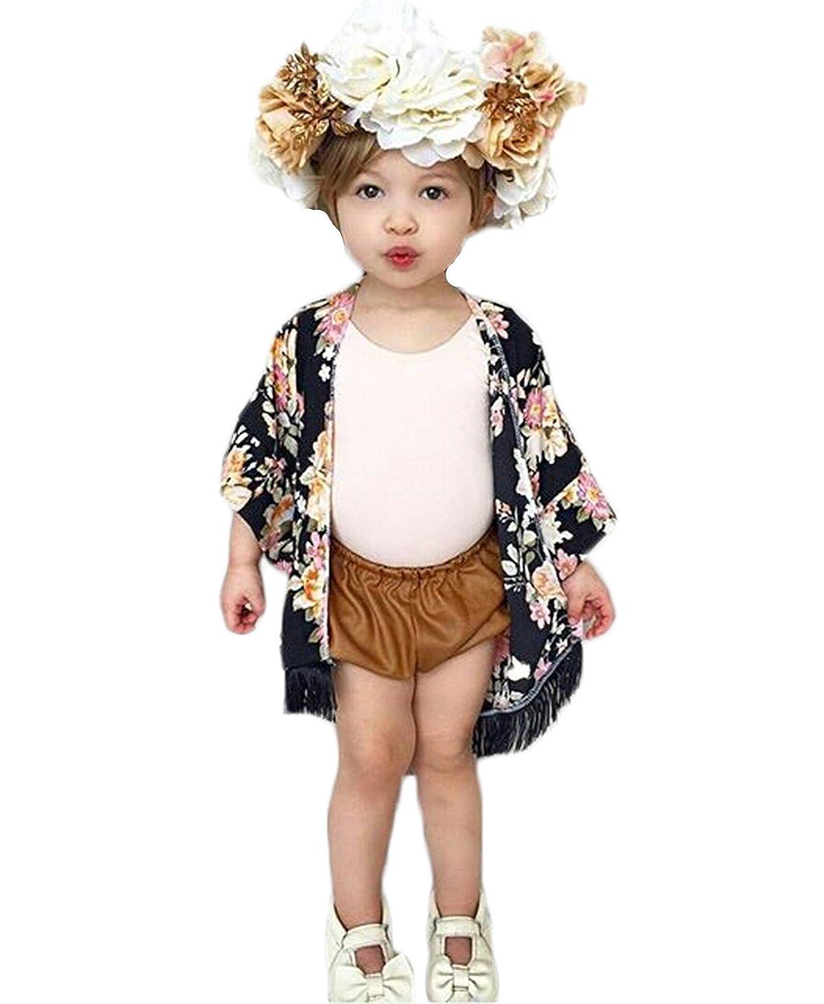 Small& beautiful Baby Girl Floral Print Jacket Tassel Chiffon Kimono Cardigan Cover up Blouse Summer Coat Clothes