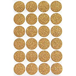 "Gold invitation Seal Dots 1"" Round 25 mm - Dot Glitter Stickers - one inch rounds sparkly sticker - 120 pack"