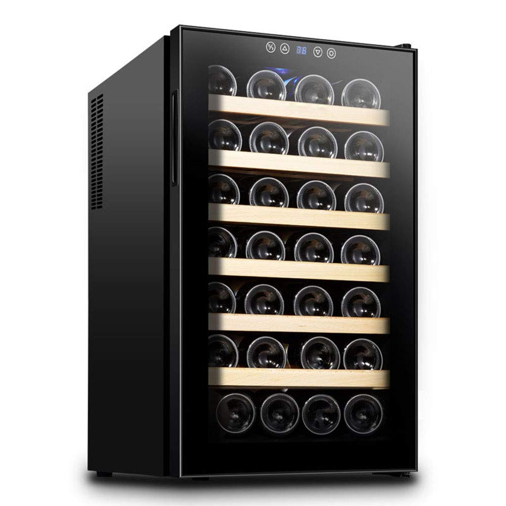 Refrigerated Wine Cellar 28 Bottles 70 Liters, Thermoelectric Cooler/Wine Cellar Red and White - Refrigerator at Beverages, Touch Screen, LED Lighting Interior 7 Wooden Shelves