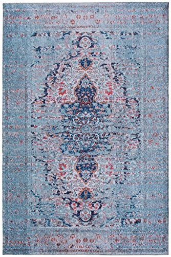 Mylife Rugs Traditional Vintage Non Slip Machine Washable Distressed Printed Area Rug, Blue Red 4'x6' (Wash Rugs Machine)