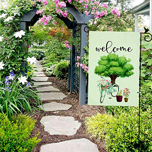 "DOMIGLOW Decorative Spring Garden Flags - Farmhouse Welcome Yard Signs Outdoor Yard Flags Vertical Double Sided Burlap Banners Best for Birthday Party Holiday Patio Decor (12.5""×18.5\"