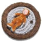 Sunmig Newborn Baby Roving Braid Wool Spinning Fiber Rugs Photography Photo Props (Grey)
