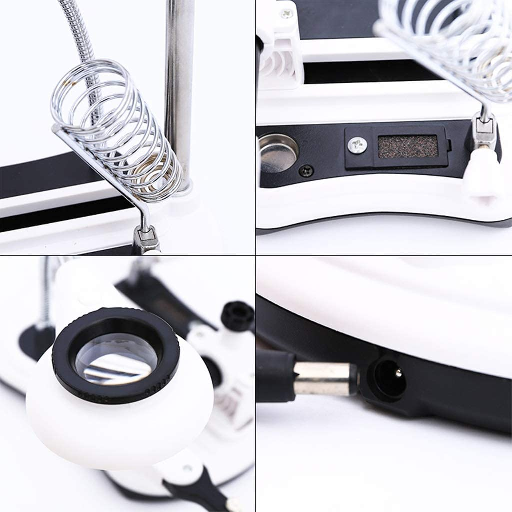 LED 2.5 x and 6X Magnifying Glass Tool with Soldering Iron Stand and Desktop Standing Helping Hand Tool for Close Jewellery Work and Electronics