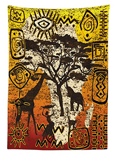 Ambesonne African Tablecloth, African Animals Safari Theme Ancient Cultural Ethnic Art Grunge Bohemian, Dining Room Kitchen Rectangular Table Cover, 52 W X 70 L Inches, Yellow Orange Brown