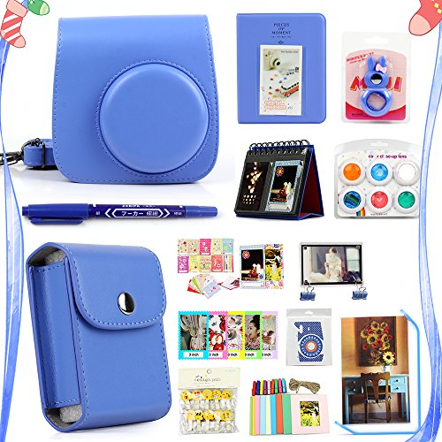 LuckyStar 20 in 1 Accessories Bundles for Fujifilm Instax Mini 8 8+ 9 Instant Camera (Cobalt Blue Mini 8/8+/9 Case, Photo Pouch, Color Filters, Selfie Lens, Acrylic Frames, Albums, Emoji clips + More) by LuckyStar