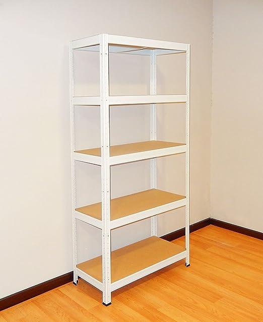 Futtal, Estanteria Metalica de 180x75x35 con 5 Bandejas Metalicas, color Blanco: Amazon.es: Bricolaje y herramientas
