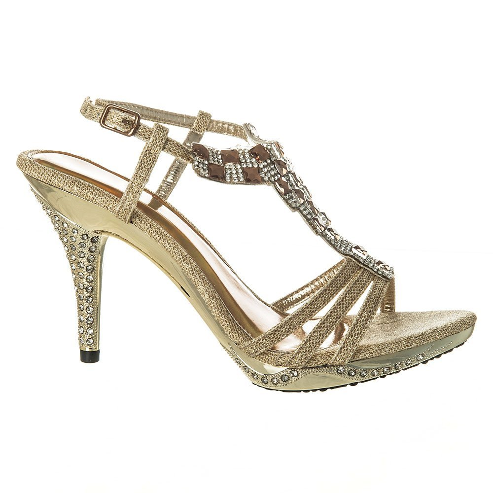 Womens Diamante Sandals High Heels Jeweled Sling Back Sandal Small Platform  Shoes 3 GOLD  Amazon.co.uk  Shoes   Bags a63a68568d