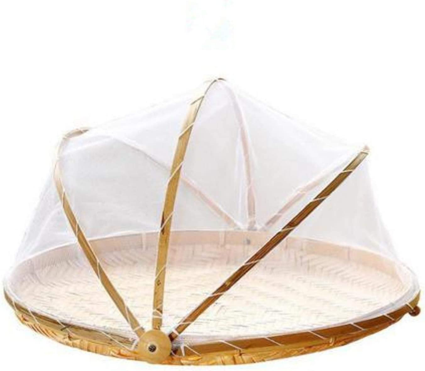 Bamboo Woven Rectangular Food Tent and Plate Serving Cover Food Serving Tent Basket for Picnic Camping
