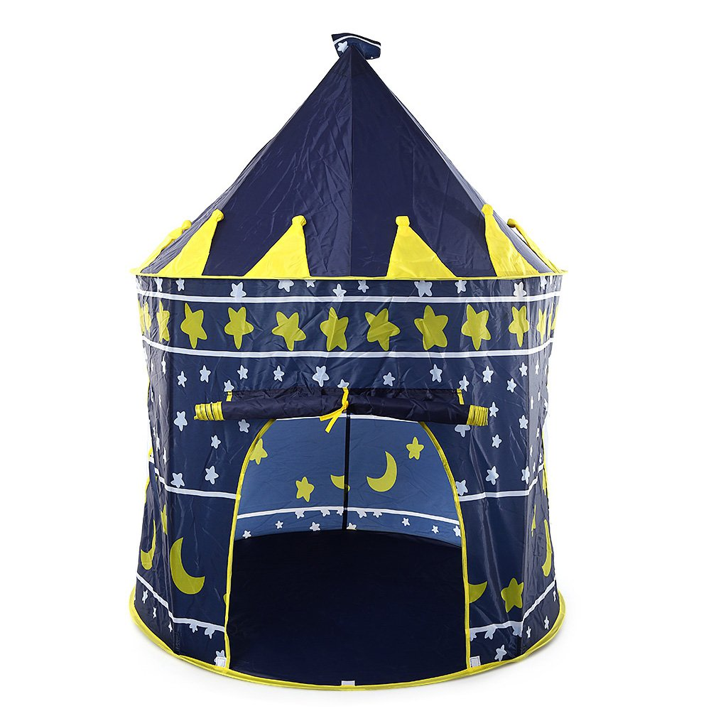 RUNACC Children Play Tent Kids Castle Tent Adorable Playhouse Tent with LED Star String Light and Stainless Steel Poles, Easy to Assemble, Creative Gift for Children