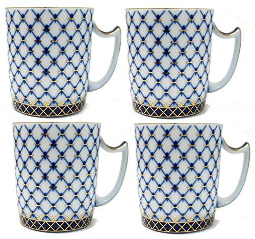 China Porcelain Mug (Set of 4 Fine Porcelain Russian Cobalt Blue Net Coffee Mug / Tea Cup, 24k Gold Accents Bone China, Saint Petersburg)