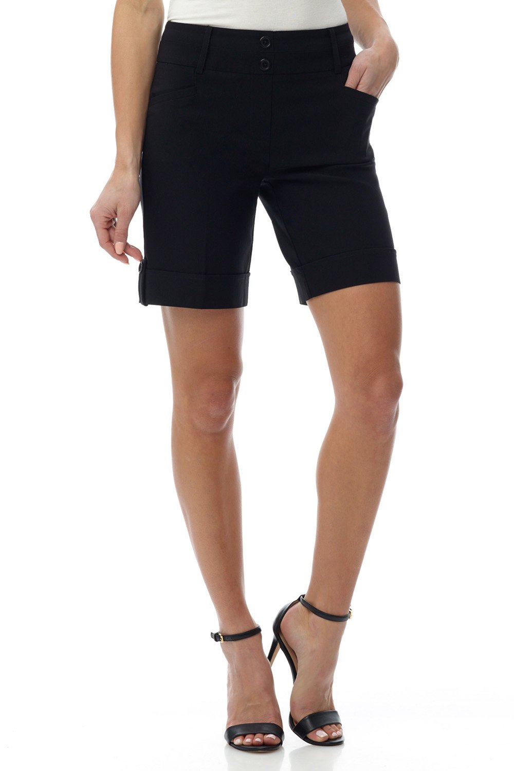 Rekucci Women's Ease in to Comfort Fit 10'' Chic Urban Short (6,Black)