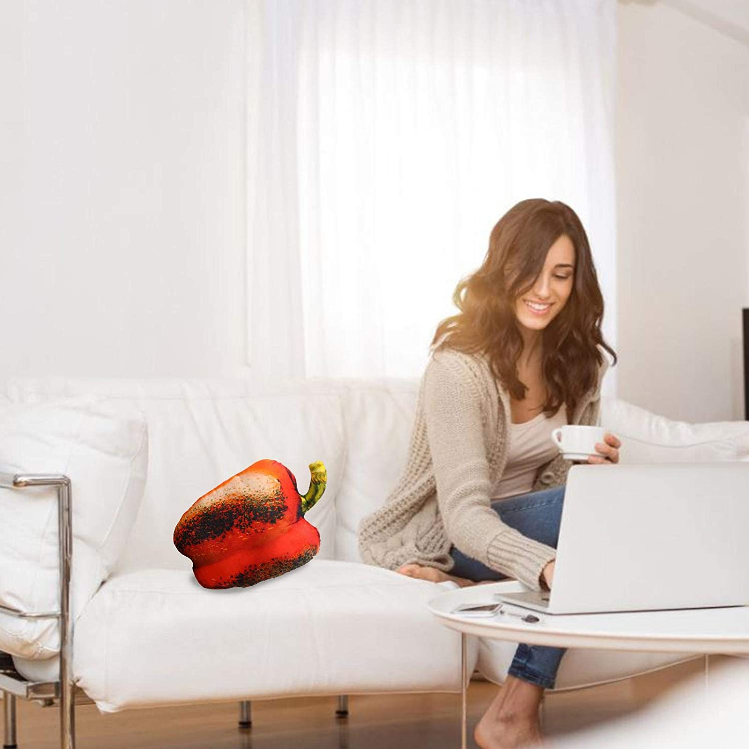 PP Cotton Innovative Lumbar Pillows Soft And Comfortable 20cm Simulation Roasted Red Pepper Pillow
