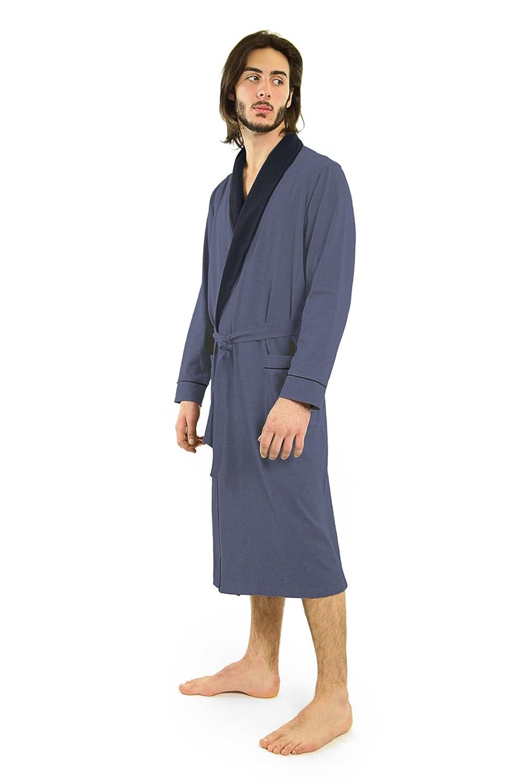 cfff5850a4 Yugo Sport Mens Robe - Cotton Robes for Men Knit Lightweight - Kimono Wrap Men s  Bathrobe at Amazon Men s Clothing store