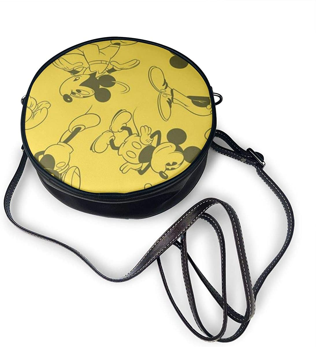 Yello Mickey Mouse Zipper Shoulder Bag For Casual Travel Trendy Round Crossbody Bag