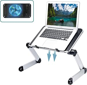 Adjustable Laptop Table with Fan Stable Laptop Stand for Bed Portable Desk Foldable Laptop Workstation Notebook Riser Ergonomic Computer Tray Reading Holder TV Bed Tray Standing Desk