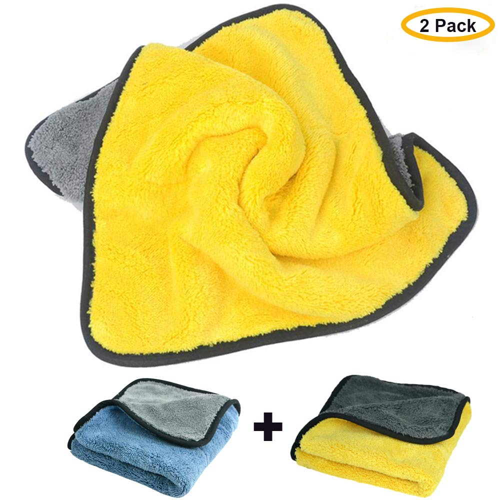 Fireflywill Car Microfiber Towel, Professional Grade Premium Microfiber Towels Drying Absorber Car Polishing Waxing Cleaning Detailing Cloth 840gsm, 12Inch x 16Inch (Pack of 2)