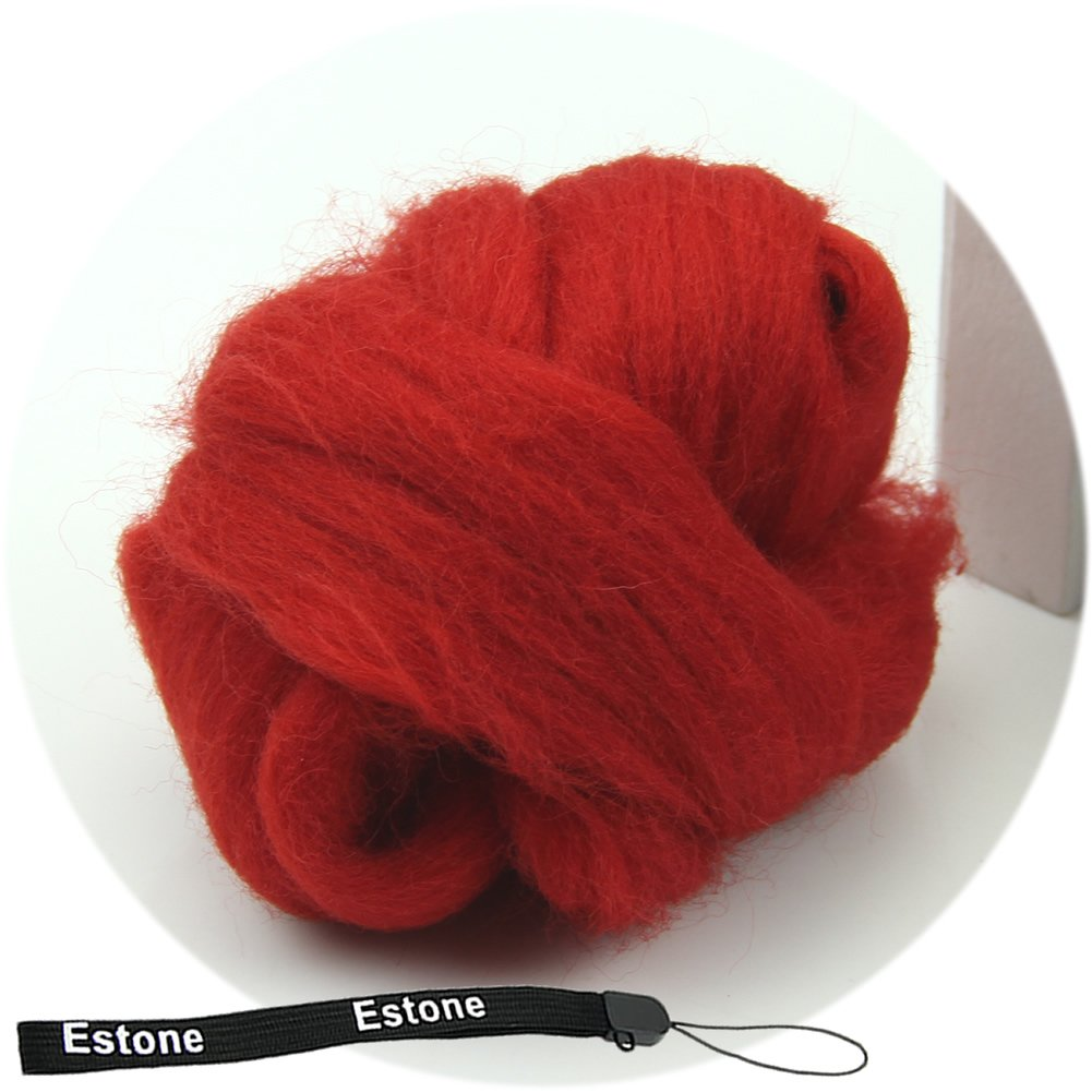 Tairacy Wool Spinning Fiber Top Roving for Needle Felting Craft Materials, 43 Optional Color (Red)
