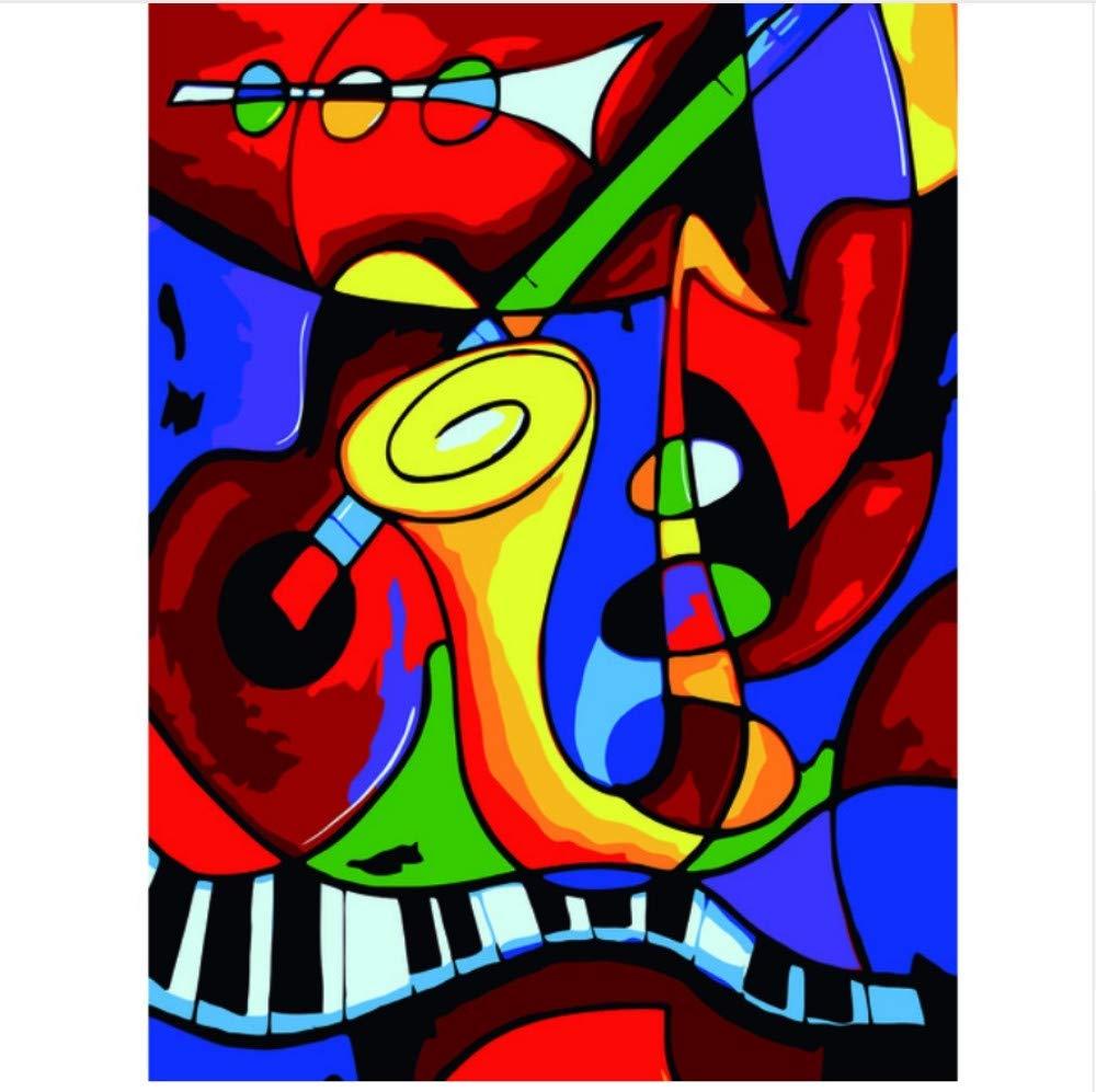 Cuadro de Arte Abstracto de la Pared para Adultos ni/ños Principiante pinturasobre Lienzo Pintado a Mano decoraci/ón del hogar Regalo QAZZSF Pintura de Bricolaje por n/úmeros Instrumento Musical