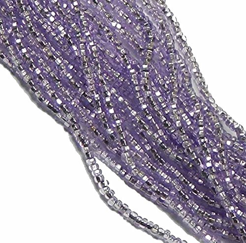 (Czech 11/0 Traditional Glass Seed Beads 6 String Hank Preciosa 100 Colors U-Pick Silver Lined Amethyst Sol-Gel)