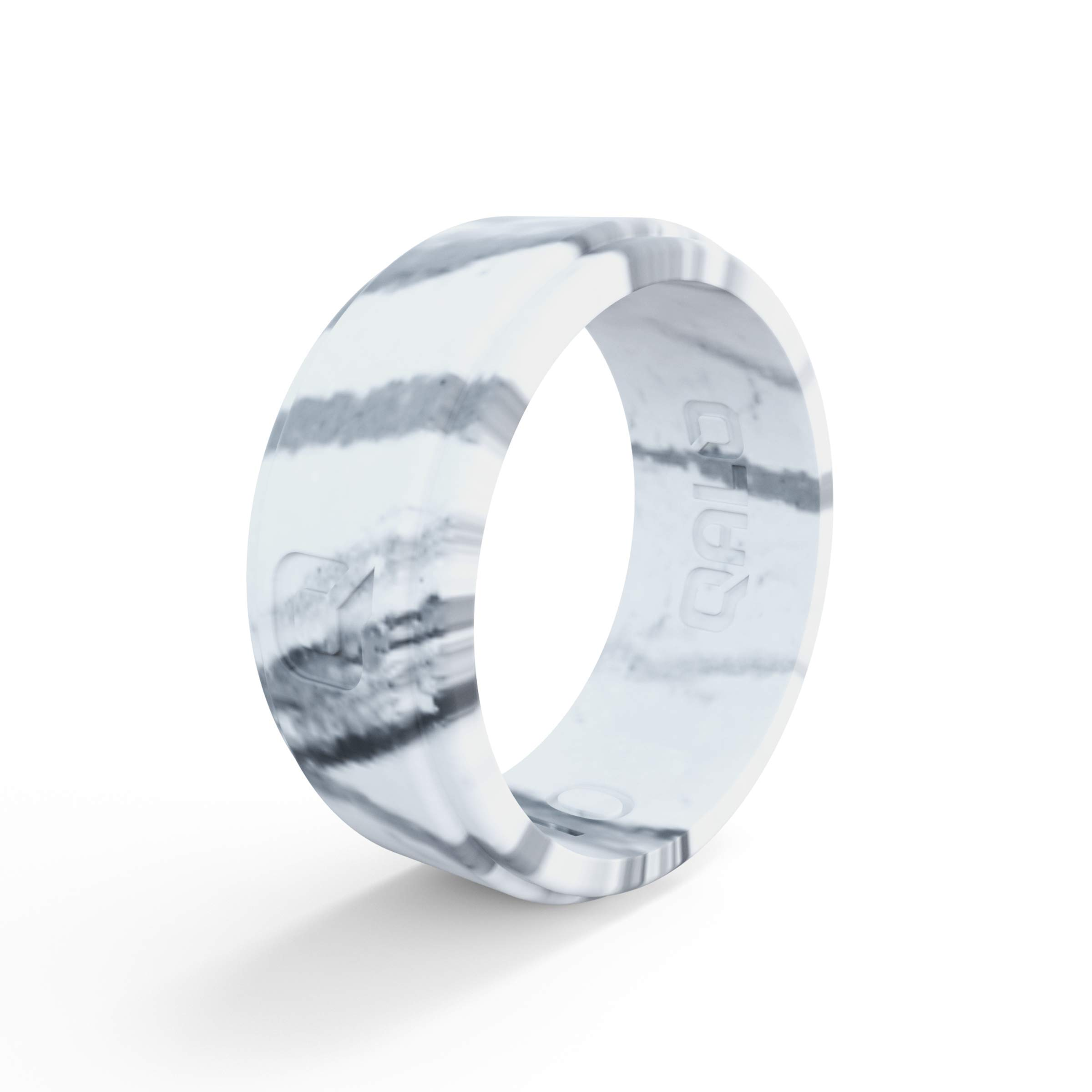 QALO Men's White Marble Step Edge Silicone Ring Size 08