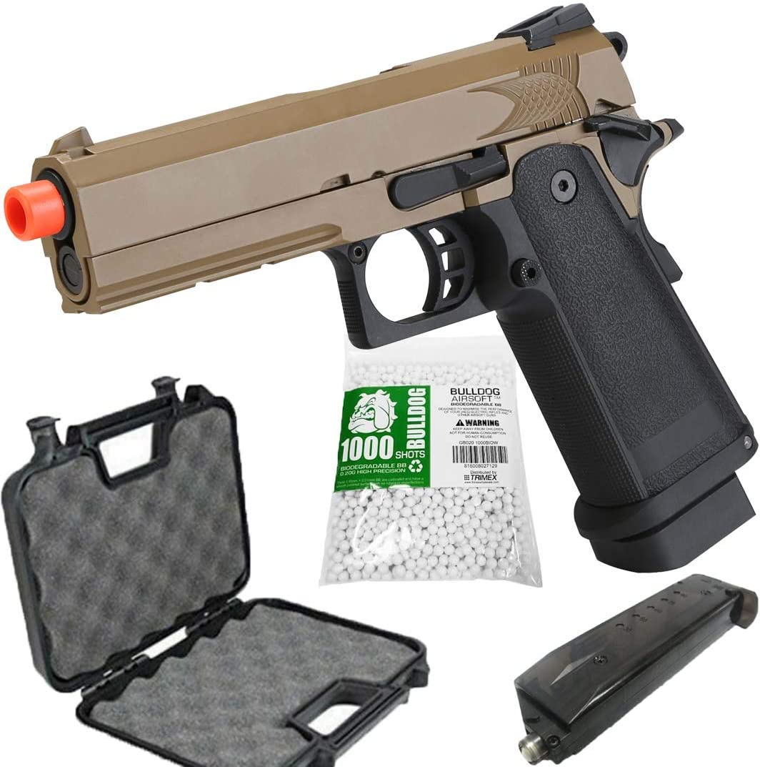 Airsoft HI-CAPA 4.3 Desert CO2 Pistol with Free Speed Loader BBS and Gun Case [Airsoft Blowback]