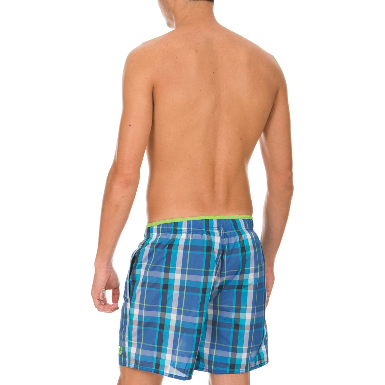 Arena Men's Swimming Trunks Boxer Yarn Dyed Check blue Royal, Energy-Green