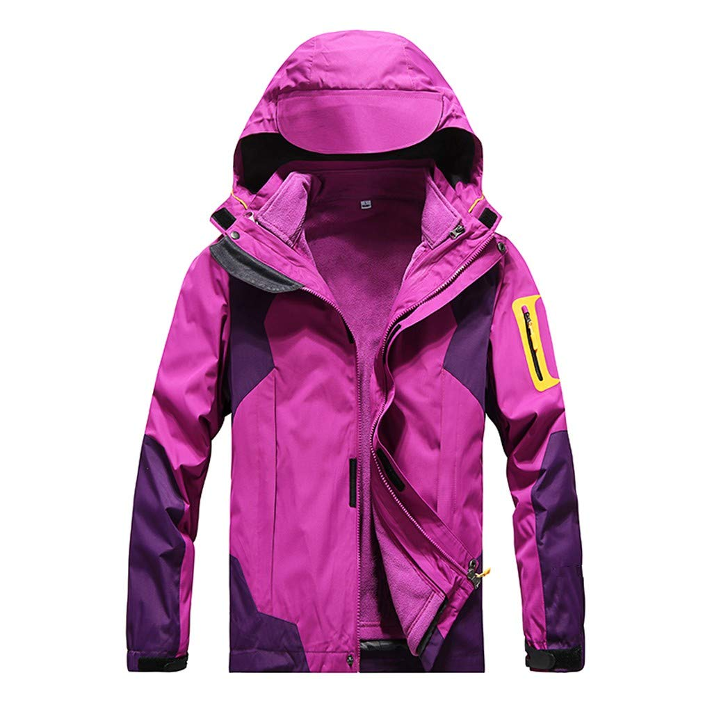 IEason Women Winter Coat Outdoor Waterproof Softshell Rain Jacket Detachable Breathable Sport Outdoor Coat Purple by IEason Women Coat