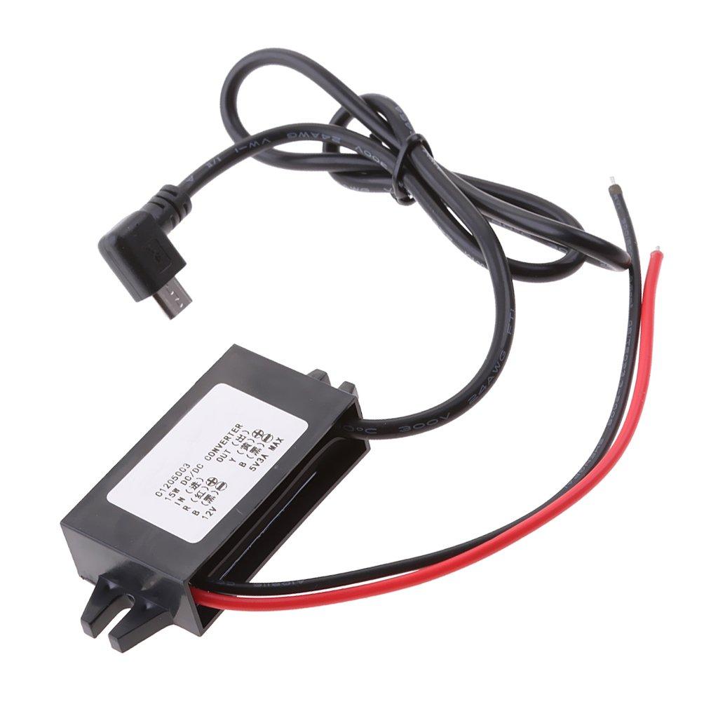 perfeclan Mó dulo del convertidor de la CC del cargador del coche 12v a 5v 3a con el cable micro del usb del á ngulo recto
