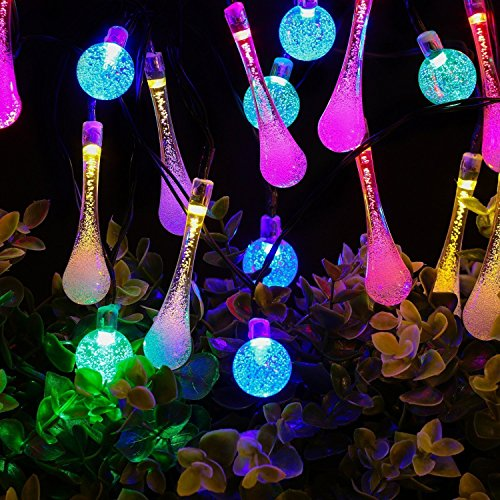 Solar Outdoor String Lights,AMZSTAR Waterproof 20ft 30 LED 15 Water Drop & 15 Crystal Ball Lights for Home Outdoor Garden Party Décor (Multicolor) ()