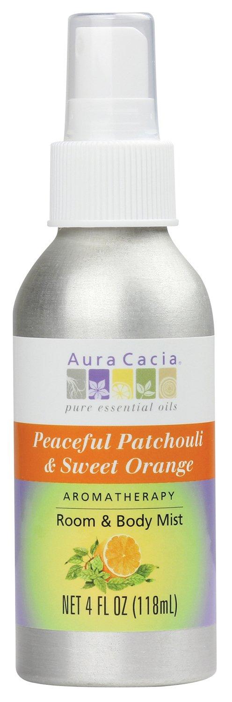 Aura Cacia Peaceful Patchouli & Sweet Orange Aromatherapy Room and Body Mist | 4 fl. oz.