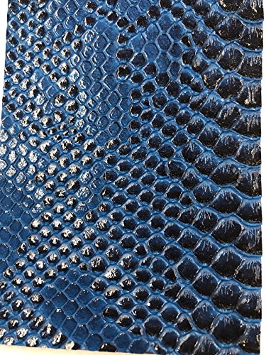 Vinyl Fabric - R Blue Faux Viper Snake Skin Vinyl - Faux Leather - 3D Scales Upholstery - sold By The Yard.
