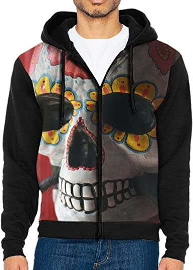 Shenghong Lin Sugar Skull Flowers Cool Mens Black Hoodie Sweatshirt Sportswear Jackets With Hoodies