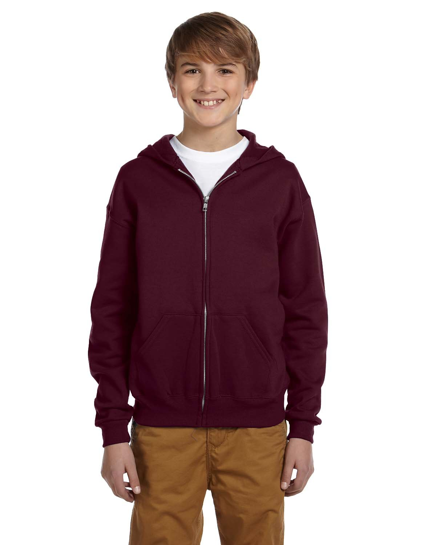 Jerzees 50/50 Youth Full-Zip Hooded Sweatshirt, XL, Maroon