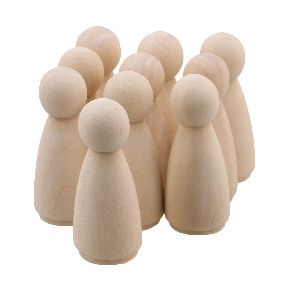 RDEXP 45x16mm Natural Unpainted Female Small Wooden Peg Doll Bodies for DIY Arts and Crafts Paint Carved Carving Set of 10