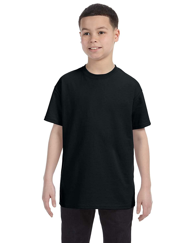 Small Jerzees Big Boys Rib Collar Tear Away Label T-Shirt Black