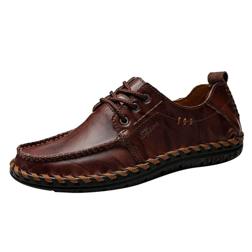 Men's Handmade Casual Penny Loafers Breathable Lace-up Driving Flats Boat Shoes Braided Flat Party Dress Shoes by Lowprofile Red