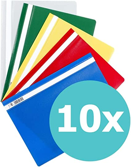 10 Schnellhefter A4 PP farbig sortiert Deckel transparent Plastikschnellhefter