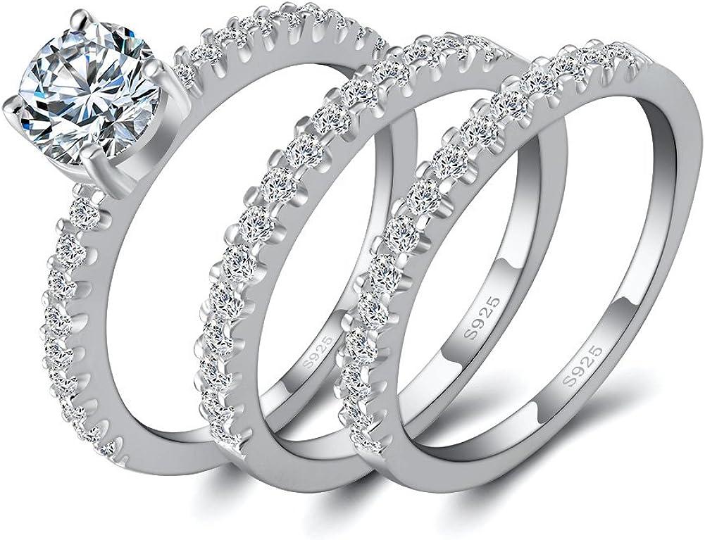 Angg 1.5ct Round Cubic Zirconia 925 Sterling Silver Engagement Wedding 3pcs Bridal Ring Set