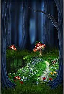 YEELE 3x5ft Wonderland Party Backdrop Enchanted Forest Dreamland Fairytale Mushroom Night Jungle Photography Background Birthday Portrait Photobooth Props Digital Wallpaper
