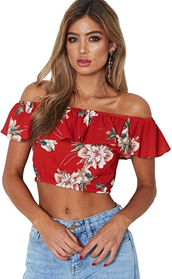 Mujer Crop Tops Volantes Fashion Hipster Camisetas Verano Elegante Floreadas Especial Estilo Camisas Sin Tirantes Barco Cuello Slim Fit Tops Blusas: Amazon.es: Ropa y accesorios
