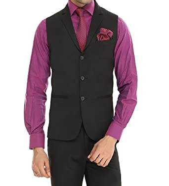 7752547e51 MANQ Men's Single Breast Three Button Slim Fit Formal/Party Waist Coat Black