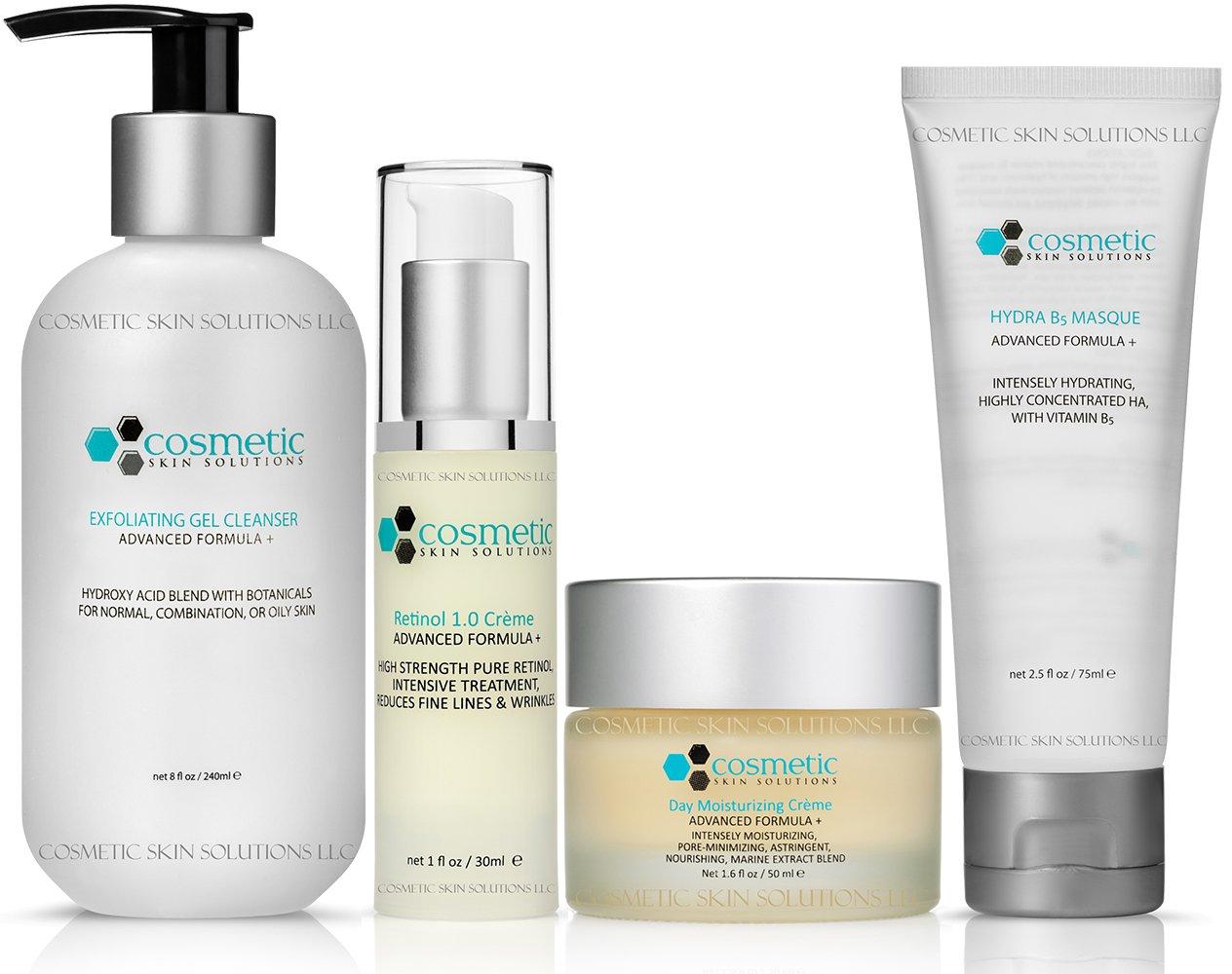 Cleanse | Correct | Moisturize | Masque - 4 Combo Pack - Includes Luxurious Pore-refining Cleanser (8 oz), Retinol 1.0 (1 oz), Moisturizer (50g), B5 Masque, Advanced Formula for MAXIMUM Effectiveness, Evening Use, No Parabens or Oils!