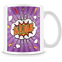 Personalised Name Mug / Cup - Comic Style design - ideal for Work or Gift