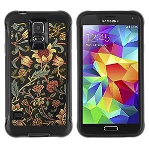 Suave TPU Caso Carcasa de Caucho Funda para Samsung Galaxy S5 SM-G900 / Sunflower Rustic Wallpaper Floral / STRONG